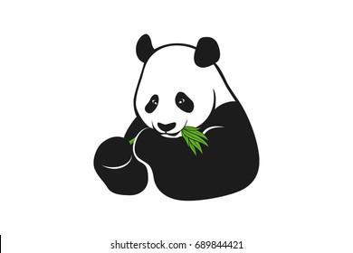 Happy Panda Eating Green Bamboo Branch