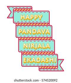 Happy Pandava Nirjala Ekadashi emblem isolated vector illustration on white background. 16 june indian holiday event label, greeting card decoration graphic element