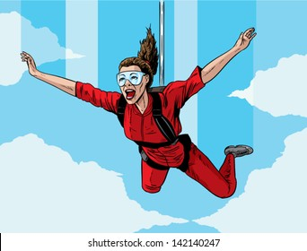 Happy parachuting girl