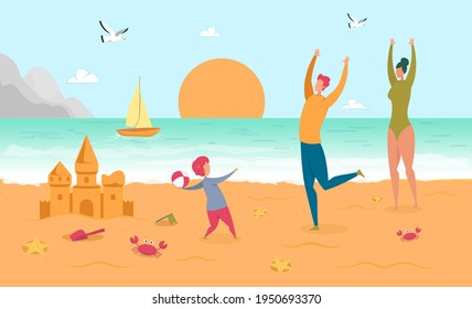 Happy Parent Play Ball with Child on Sand Beach. Sandcastle, Sea Star, Crab, Sailboat Seagull, Ocean and People. Sunset at Seaside. Family Vacation and Summertime Fun. Vector Illustration