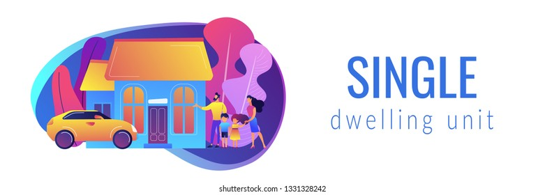 Happy parents with children and detached house. Single-family detached home, family house, detached residence and single dwelling unit concept. Header or footer banner template with copy space.