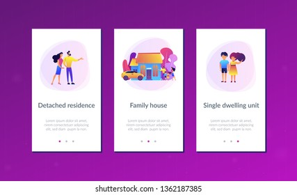 Happy parents with children and detached house. Single-family detached home, family house, detached residence and single dwelling unit concept. Mobile UI UX GUI template, app interface wireframe