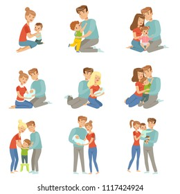 Happy parents embracing their kids set, mother and father hugging their children, happy family concept vector Illustration on a white background