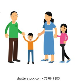 Happy parents standing with their son and daughter, happy family concept vector Illustration