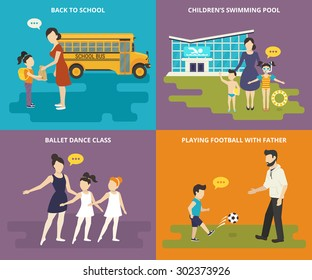 Happy parents are teaching their children. Concept flat family icons set of the child goes to school, visits a swimming pool, girls dancing in a ballet school and parent playing football with child