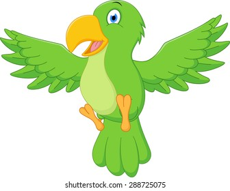 Happy parrot cartoon flying