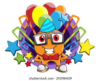 Happy party geek mascot with balloons and stars vector