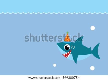 Happy Party Shark Birthday Card Stock Vector Royalty Free