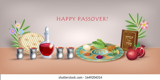Happy Passover banner greeting card Jewish holiday traditional icons kiddush cup, four wine glass, matzo matzah - jewish traditional bread for Passover seder, pesach plate, candles, Haggadah, vector