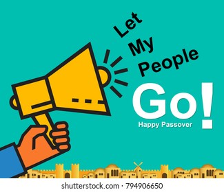 Happy passover card or background with text Let My People Go. Festive poster or banner. Trendy flat design. Vector illustration