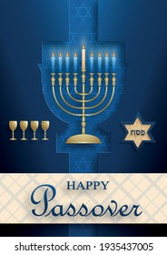 Happy Passover card, the Pessah holiday with nice and creative jewish symbols and gold paper cut style on color background for pesach Jewish holiday (translation : happy Passover)