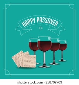 Happy Passover design traditional matzoh and wine EPS 10 vector royalty free stock illustration for greeting card, ad, promotion, poster, flier, blog, article, social media, marketing