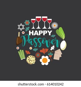 Happy Passover flat design. For celebration of the Jewish holiday of Passover. EPS 10 vector.