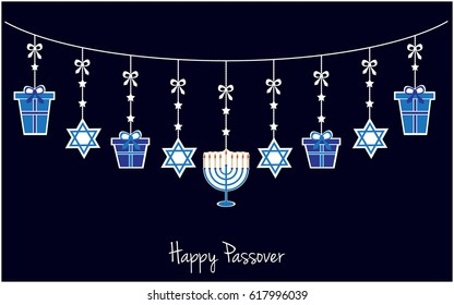 Happy Passover greeting card or background. Jewish holiday. vector illustration.