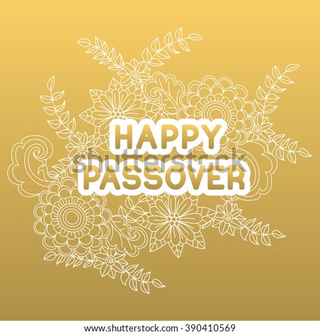 Happy passover greeting card hand drawn stock vector royalty free happy passover greeting card hand drawn flowers on golden background happy passover in m4hsunfo