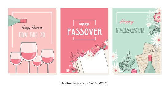 happy Passover greeting card set. Jewish holiday invitation and card templates. Jewish holiday