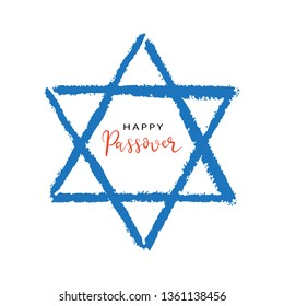 Happy Passover handwritten lettering in Jewish star of David. Hand drawn brush pen calligraphy, typography. Simple creative vector design for easter holiday greeting card, stamp, label, logo