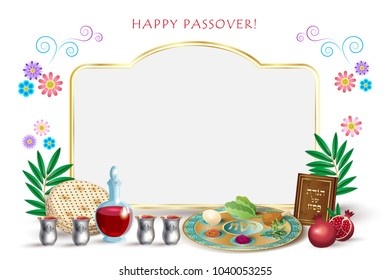 Happy Passover Holiday greeting card with passover symbols, four wine glass, matzah - jewish traditional bread for Passover seder, pesach plate, decorative floral frame, copy space for text vector