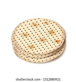 Happy Passover Holiday - Matzah symbol isolated on white, matzah - Jewish traditional bread for Passover seder ceremony, pesach plate, prayer book, jewish food, family, matza icon, logo religion sign