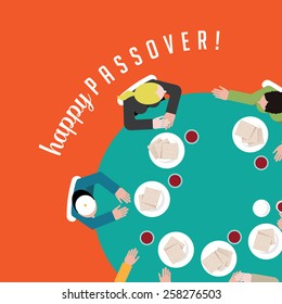 Happy Passover people having traditional matzoh and wine EPS 10 vector royalty free stock illustration for greeting card, ad, promotion, poster, flier, blog, article, social media, marketing