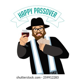 Happy Passover Rabbi with traditional matzoh and wine EPS 10 vector royalty free stock illustration for greeting card, ad, promotion, poster, flier, blog, article, social media, marketing