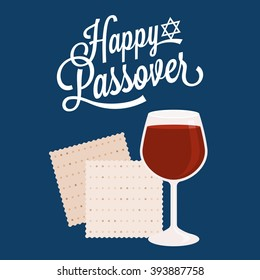 Happy passover with star of david, wine and matzah crackers, flat design