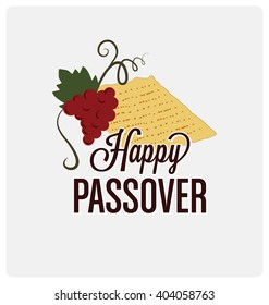 Happy Passover Typographic Vector Design with Traditional Matzoh and Wine Icon