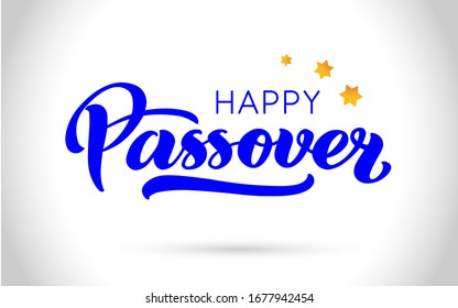 Happy Passover vector hand lettering. Jewish holiday Easter. Calligraphy template for typography poster, greeting card, banner, invitation, postcard, flyer, sticker. Illustration isolated on white