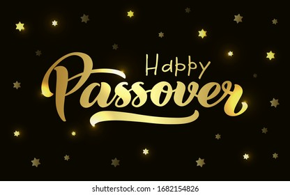 Happy Passover vector hand lettering. Jewish holiday Easter. Calligraphy template for typography poster, greeting card, banner, invitation, postcard, flyer, sticker. Gold illustration on black