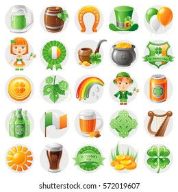 Happy Patrick day icon set, flat icons isolated white background. Green beer, irish flag, shamrock clover, leprechaun hat, pot of gold, celtic cross, harp. Northern Ireland holiday vector illustration
