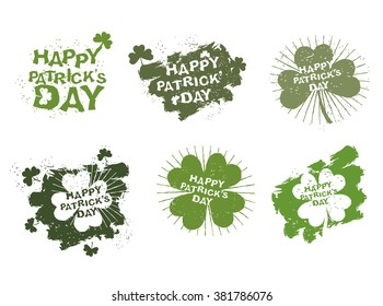 Happy Patricks day logo set in style of grunge. Trace of brush and Shamrock Clover. Clover with four leaves for lucky winner. Logo for traditional Irish celebration March 17