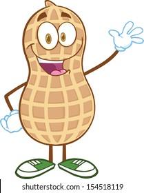 Happy Peanut Cartoon Mascot Character Waving For Greeting