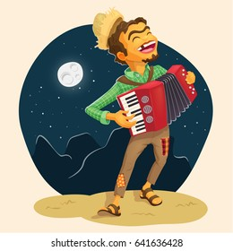 Happy peasant playing the accordion - Detailed vector illustration for brazilian june party themes