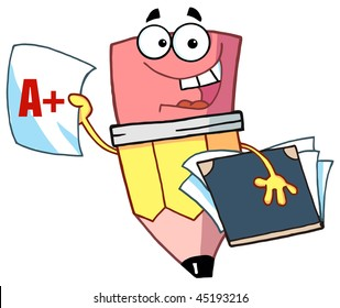 Happy Pencil Guy Holding An A Plus Report Card