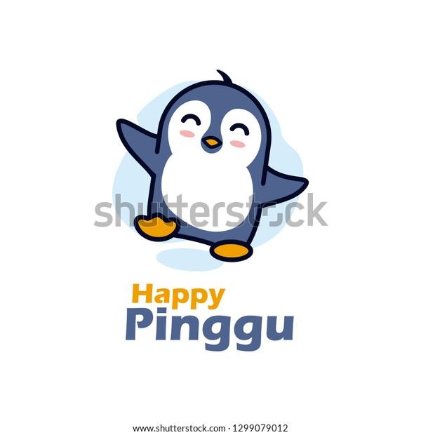 幸せなペンギンのベクター画像デザインイラスト かわいいペンギンのアイコン おかしなペンギンのアイコン ペンギンのマスコットキャラクターアイコン のベクター画像素材 ロイヤリティフリー