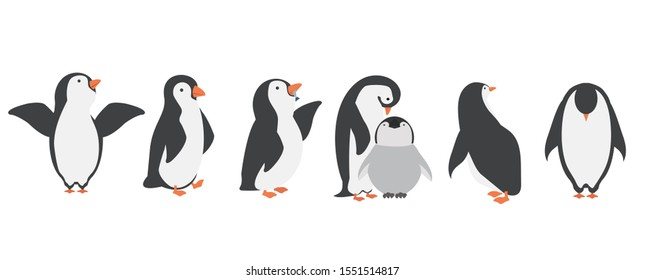 Happy penguin characters in different poses set