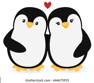 Happy penguin couple