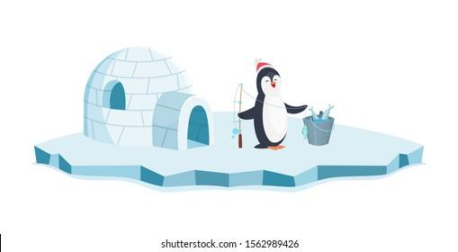 Happy penguin fishing. Christmas penguin on ice and bucket of fish vector illustration. Cartoon animal isolated on white background