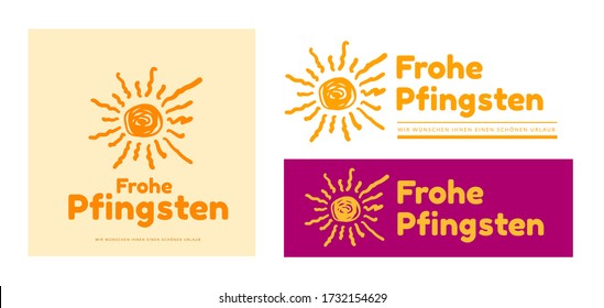 Happy Pentecost in German - Frohe Pfingsten. Vector logo illustration with drawn sun