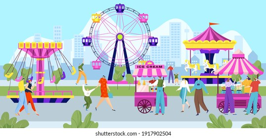 Happy people in amusement park, colorful entertainment festival, carnival holiday, design cartoon style vector illustration. Joyful children at fair walk with their parents, outdoor attractions.