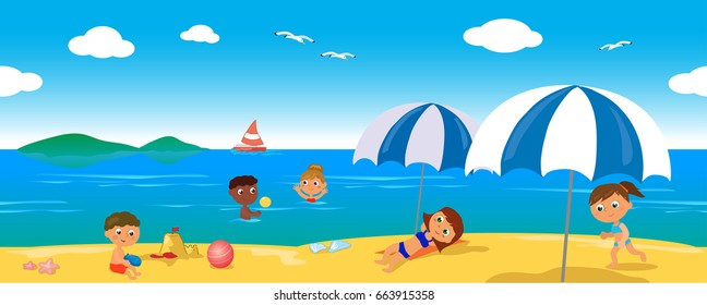 Happy people at the beach in summer landscape, seamless horizontal vector illustration.