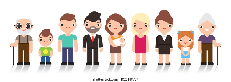 Happy people. Big cheerful family. Father, mother, grandfather,grandmother, children. Vector illustration flat design isolated on white background