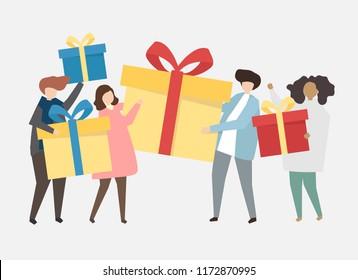 Happy people celebrating a birthday illustration