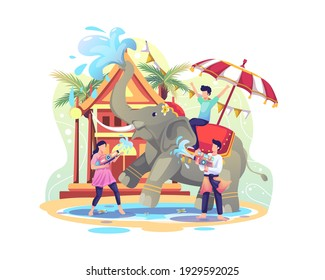 Happy People celebrating Songkran festival by squirting water at elephant. Vector Illustration