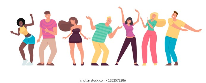 Happy people are dancing. Men and women move to the music. Set of cheerful energetic characters. Vector illustration in flat style.