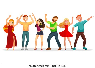 Happy people dancing in various poses vector flat illustration. Men and women dancing together isolated on white background. Group of people at the party.