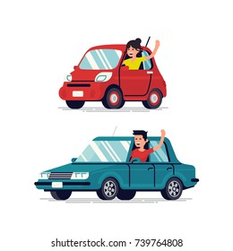 Happy people driving cars and waving hands. Cool flat vector male and female driver characters with cars looking out of windows smiling