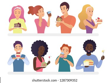 Happy people eating pie and cakes set. Sweet-tooth man and woman cartoon vector illustration.