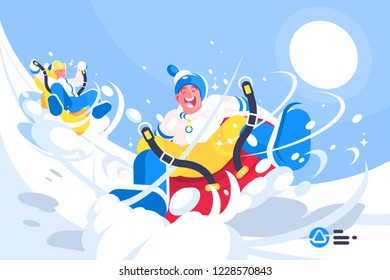 Happy people enjoying cylinder riding flat style concept vector illustration. Cartoon man and woman moving down snow hill on inflatable cylinders