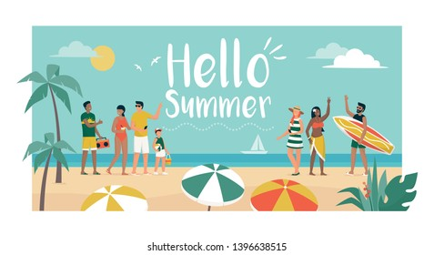 Happy people enjoying summer vacations on the beach, they are dancing and talking, tourism and summer time concept